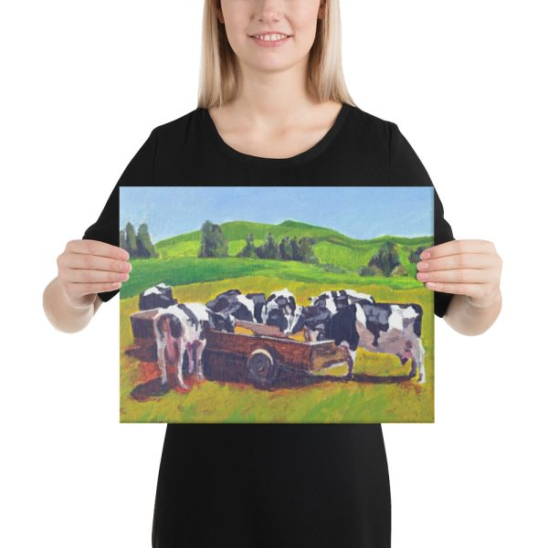 Cows Feeding in Field Canvas Print for Home Decor
