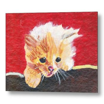 Naughty Kitten Painting 18 x 24 inches Metal Print Wall Art