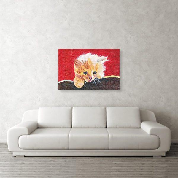 Naughty Kitten 24 x 36 inches Metal Print Wall Art
