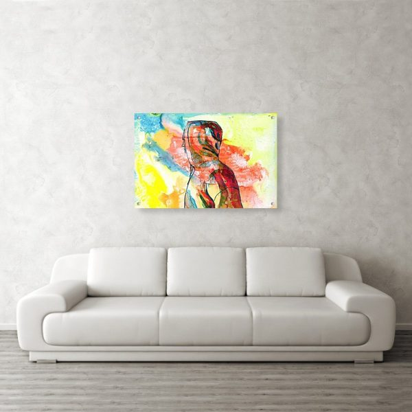 Over There Ink Painting 24 x 36 inches Acrylic Print Wall Art