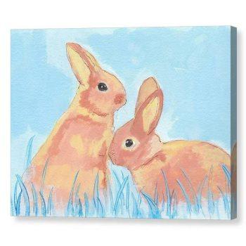 Pastel Bunnies on Blue Canvas Print Wall Art