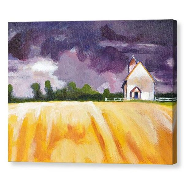 Cottage and Yellow Fields Canvas Print Wall Art 12x16