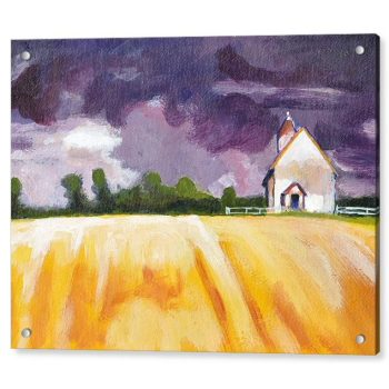 Cottage in Yellow Fields Landscape Painting 18 x 24 inches Acrylic Print Wall Art