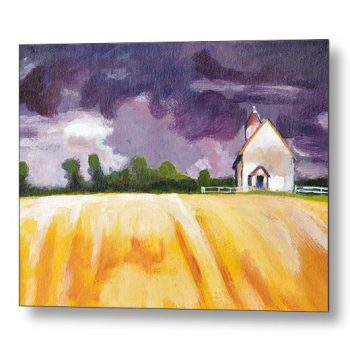 Cottage, Yellow Fields Landscape 18 x 24 inches Metal Print Wall Art