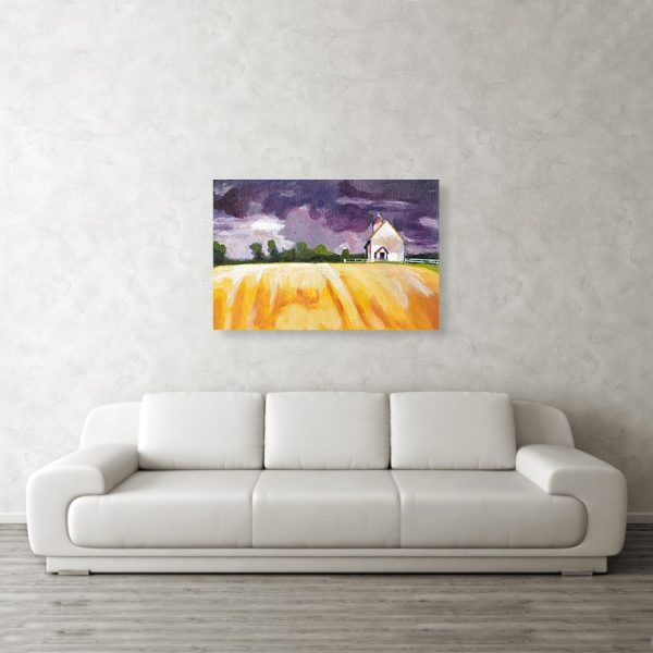 Cottage, Purple Sky, Yellow Fields 24 x 36 inches Metal Print Wall Art