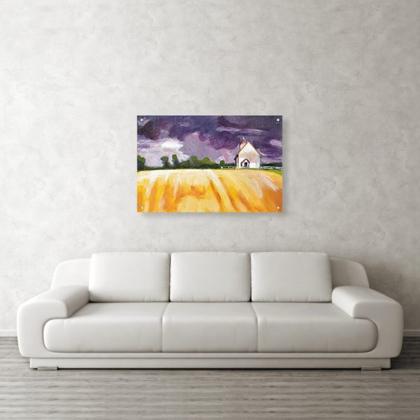 Cottage in Field Landscape Painting 24 x 36 inches Acrylic Print Wall Art