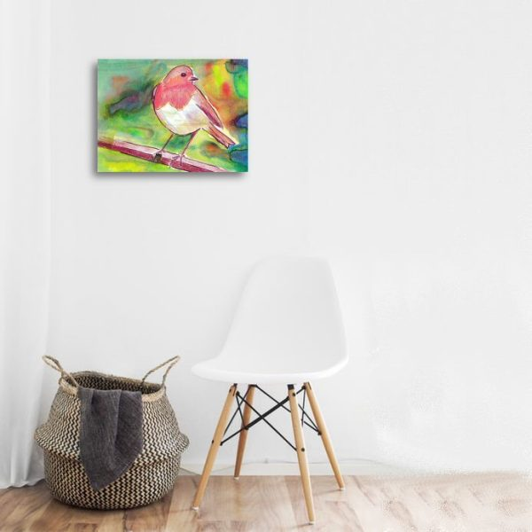 red breasted robin canvas print wall art