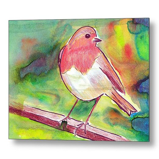 Robin Redbreast Ink Painting 18 x 24 inches Metal Print Wall Art