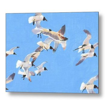 Flock of Seagulls Painting 18 x 24 inches Metal Print Wall Art