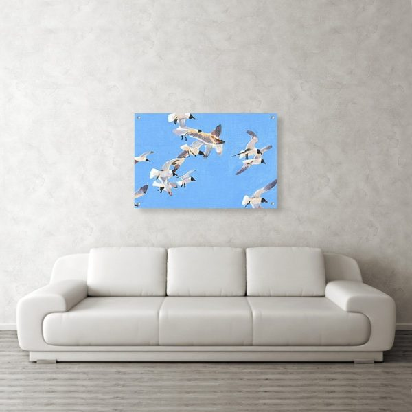 Flock of Seagulls Painting 24 x 36 inches Acrylic Print Wall Art