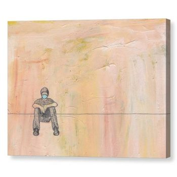 Social Distance Sitting Canvas Print Wall Art 12x16