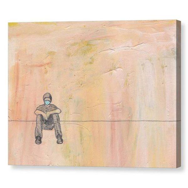 Social Distance Sitting Canvas Print Wall Art 12x16