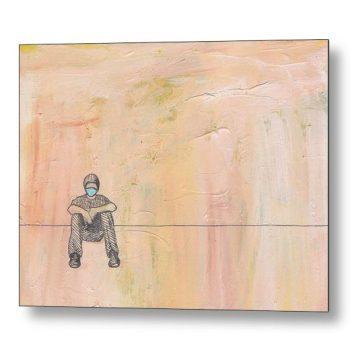 Social Distancing Sitting 18 x 24 inches Metal Print Wall Art