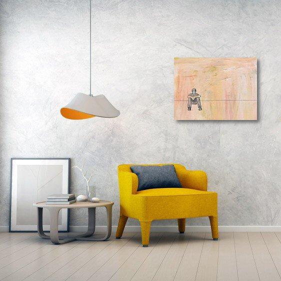Social distancing sitting canvas print wall art
