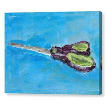 Green and Purple Scissors Still Life Canvas Print for Home Decor 12x16
