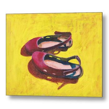 Raspberry Summer Sandals Painting 18 x 24 inches Metal Print Wall Art