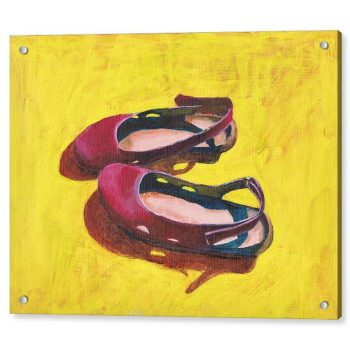 Raspberry Summer Sandals Painting 18 x 24 inches Acrylic Print Wall Art