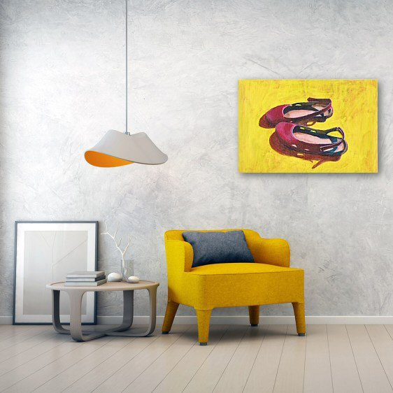 Raspberry Sandals Canvas Wall Art