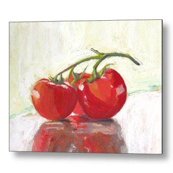 Three Tomatoes Still Life 18 x 24 inches Metal Print Wall Art