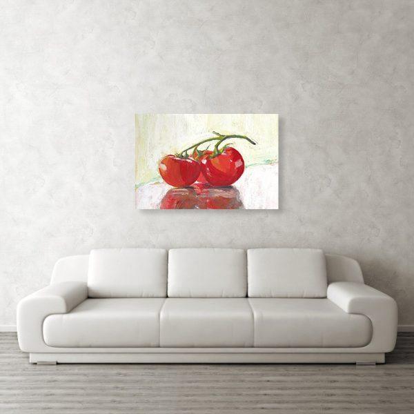 Three Tomatoes Still Life 24 x 36 inches Metal Print Wall Art