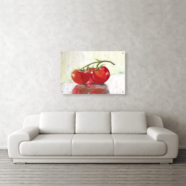 Three Tomatoes Still Life 24 x 36 inches Acrylic Print Wall Art