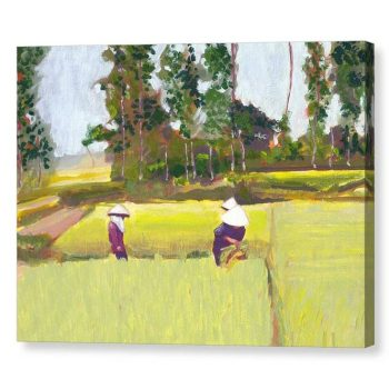 Vietnamese Paddy Workers Canvas Print for Home Decor 12x16