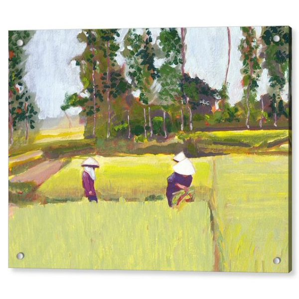 Vietnam Paddy Workers Painting 18 x 24 inches Acrylic Print Wall Art