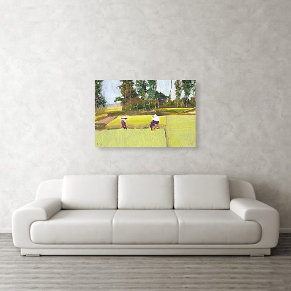 Vietnamese Paddy Workers Painting 24 x 36 inches Acrylic Print Wall Art