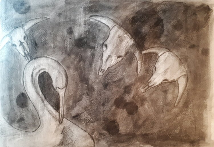 Skulls and Yellow Gourd Stage2 - a graphite underpainting that already looks spooky.