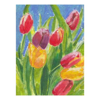Colourful Tulips on Blue Jigsaw Puzzle 500