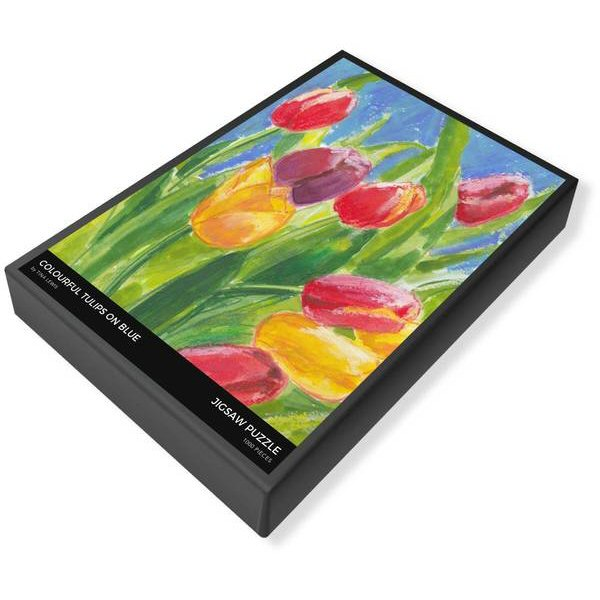 Colourful Tulips on Blue Jigsaw Puzzle Box