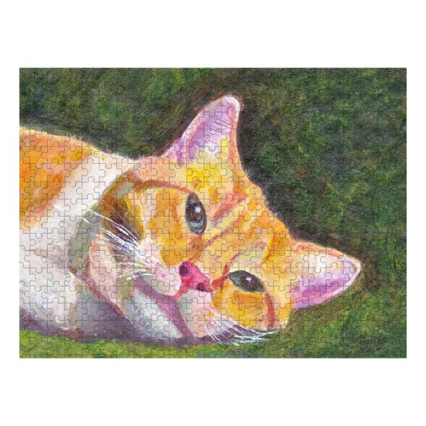 Ginger Tabby Cat Relaxes Jigsaw Puzzle 500
