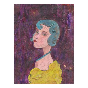 Lady With Blue Curls and Pearls Jigsaw Puzzle 500