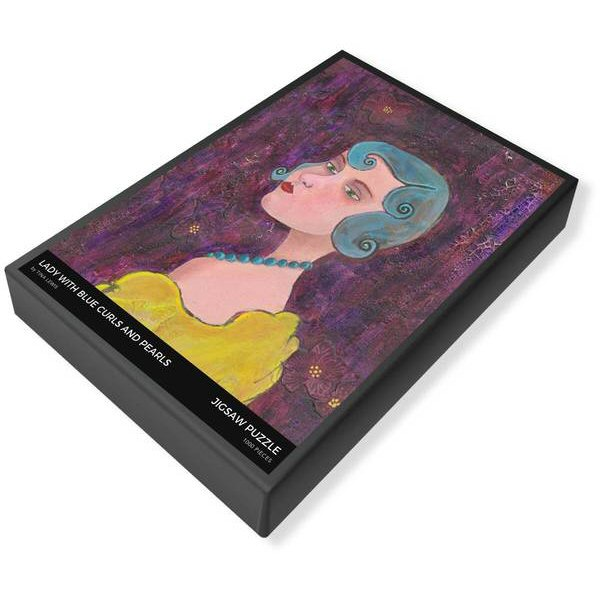 Lady With Blue Curls and Pearls Jigsaw Puzzle Box