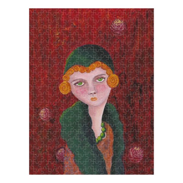 Lady With Orange Curls and Green Pearls Jigsaw Puzzle 500