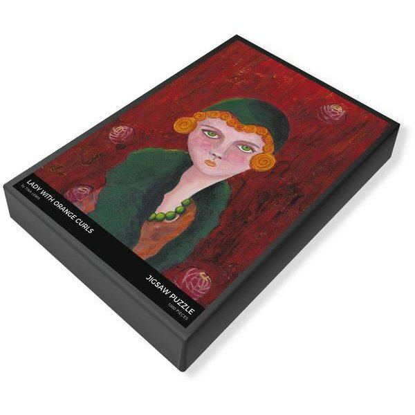 Lady With Orange Curls and Green Pearls Jigsaw Puzzle Box