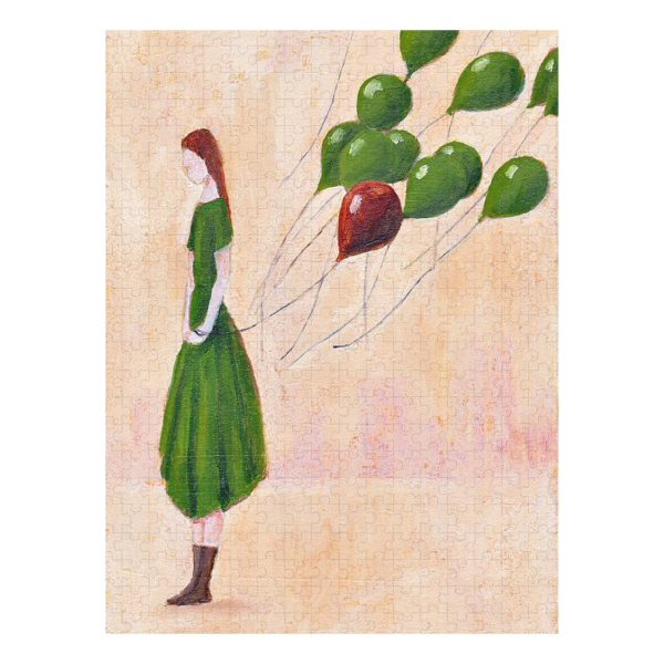 Let Go, Girl with Green Balloons Jigsaw Puzzle 500