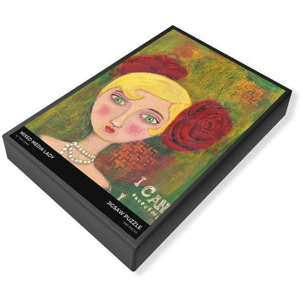 Mixed Media Lady Jigsaw Puzzle Box