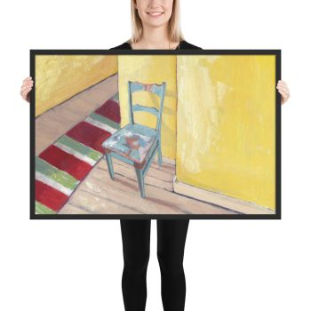 Runner and Teal Chair 24x36 Framed Print