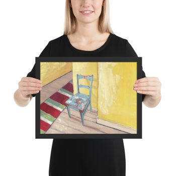 Runner and Teal Chair 12x16 Framed Print