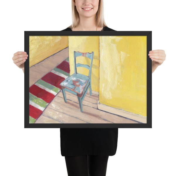 Runner and Teal Chair 18x24 Framed Print