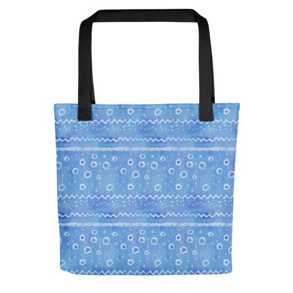 Blue watercolour pattern tote bag
