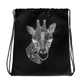 Giraffe Head Drawstring Bag