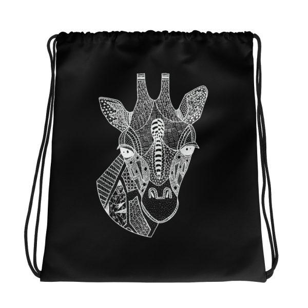 Giraffe Head Drawstring Bag