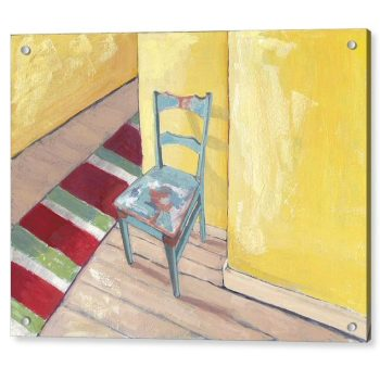Runner and Teal Chair 18 x 24 inches Acrylic Print Wall Art