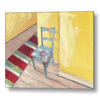 Runner and Teal Chair 18 x 24 inches Metal Print Wall Art