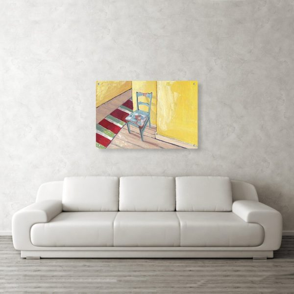 Runner and Teal Chair Painting 24 x 36 inches Acrylic Print Wall Art