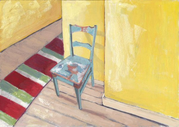 Still Life Painting of Old Teal Chair and Runner Carpet | Casein Painting