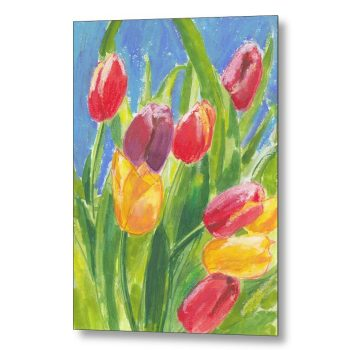 Colourful Tulips on Blue Painting 18 x 24 inches Metal Print Wall Art