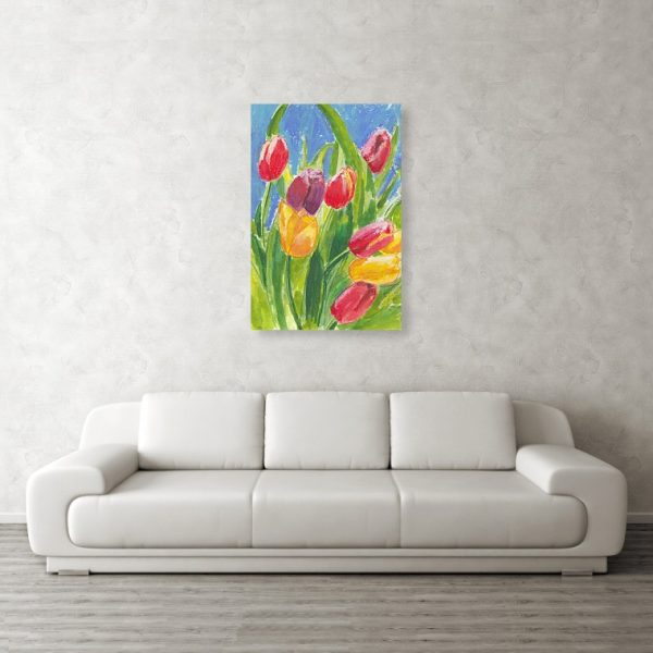 Colourful Tulips on Blue Painting 24 x 36 inches Metal Print Wall Art